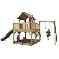 AXI Atka Maison Enfant avec Bac à Sable, Balançoire & Toboggan Gris | Aire de Jeux pour l'extérieur en marron & vert | Maisonnette / Cabane de Jeu en Bois FSC