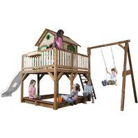 AXI Liam Maison Enfant avec Bac à Sable, Balançoire & Toboggan Blanc   Aire de Jeux pour l'extérieur en marron & vert   Maisonnette / Cabane de Jeu en Bois FSC