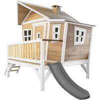 AXI Emma Maison Enfant avec Toboggan Gris | Aire de Jeux pour l'extérieur en Marron & Blanc | Maisonnette / Cabane de Jeu en Bois FSC