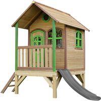AXI Tom Maison Enfant avec Toboggan Gris   Aire de Jeux pour l'extérieur en Marron & Vert   Maisonnette / Cabane de Jeu en Bois FSC