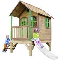 AXI Tom Maison Enfant avec Toboggan Blanc   Aire de Jeux pour l'extérieur en Marron & Vert   Maisonnette / Cabane de Jeu en Bois FSC