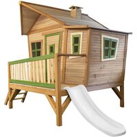 AXI Emma Maison Enfant avec Toboggan Blanc | Aire de Jeux pour l'extérieur en Marron & Vert | Maisonnette / Cabane de Jeu en Bois FSC