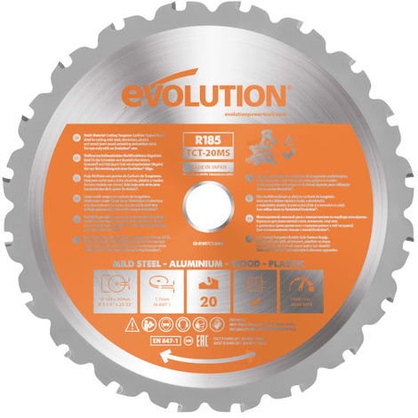 Evolution Rage Multipurpose Circular Saw Blade 185 X 20mm X 20t