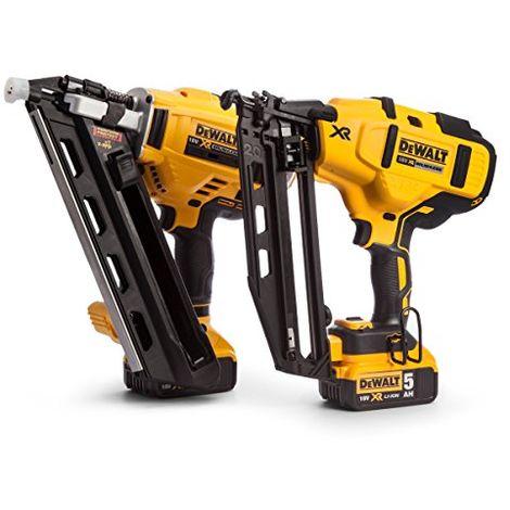 Dewalt Dck264p2-18v-xr Cordless Li-ion Brushless Nailer Twin Pack In Tough System Box - Yellow/black