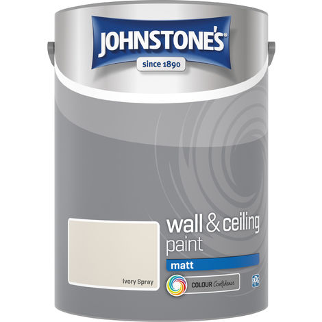 Johnstone's 304053 5 Litre Matt Emulsion Paint - Ivory Spray