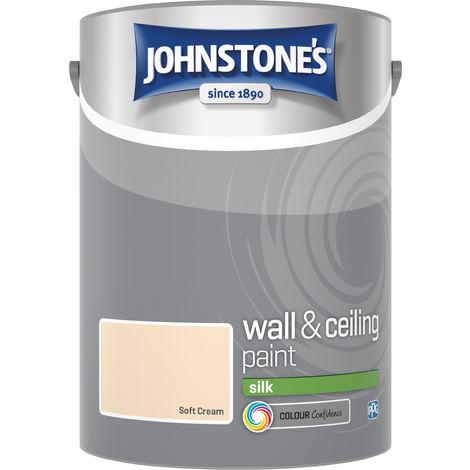 Johnstone's 304088 5 Litre Silk Emulsion Paint - Soft Cream
