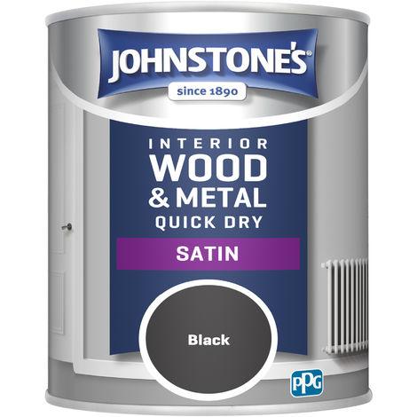 Johnstone's 303913 750ml One Coat Quick Dry Satin Paint - Black