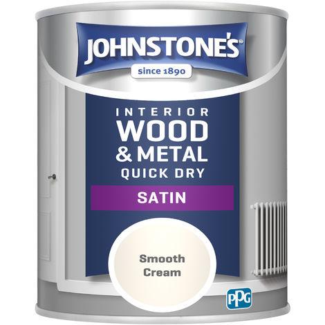 Johnstone's 303927 750ml One Coat Quick Dry Satin Paint - Smooth Cream
