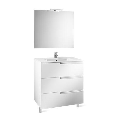 ROCA  Mueble de baño (mueble, lavabo, espejo y aplique Led) - 100 cm, Serie Victoria-N , Blanco brillo