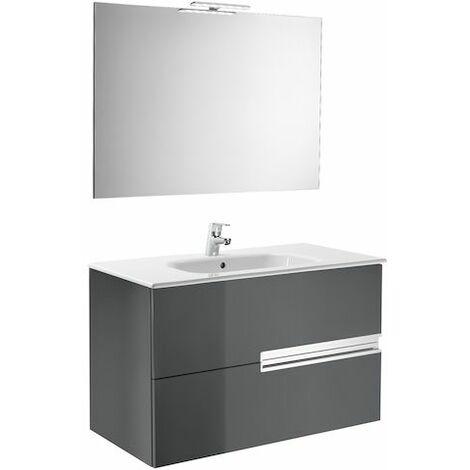 ROCA  Mueble de baño (mueble, lavabo,  espejo y aplique Led) - 80 cm, Serie Victoria-N , Color Gris antracita