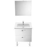 ROCA Pack (Incluye Unik Victoria Basic de 2 cajones, espejo y aplique LED), Serie Victoria Basic, 60 cm, Color Blanco Brillo. - A855859806