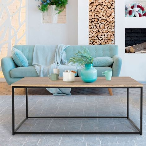 Table basse DETROIT design industriel bois et métal noir