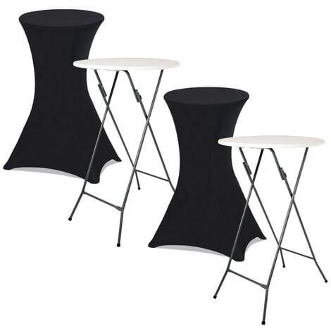 """main image of """"Lot de 2 tables hautes 105 cm pliantes + 2 housses noires"""""""