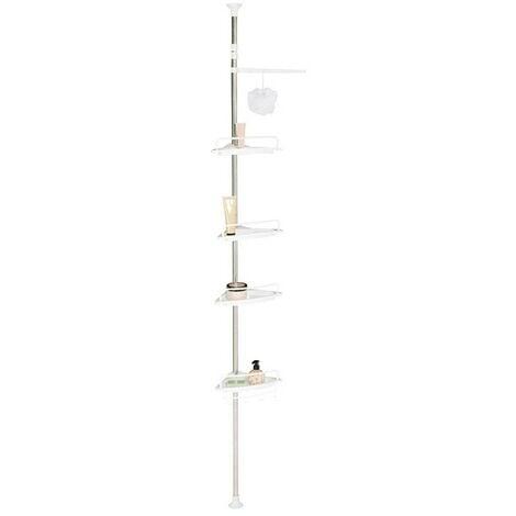 Etagère d'angle de douche télescopique chromée avec 4 tablettes blanches