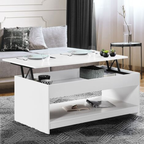 Table basse plateau relevable Soa bois blanc