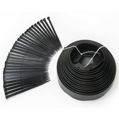 Bordurette de jardin flexible 10 M noire hauteur 5 CM + 30 piquets