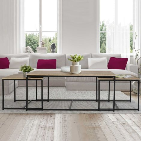 Lot de 3 tables basses gigognes DETROIT 113 cm design industriel