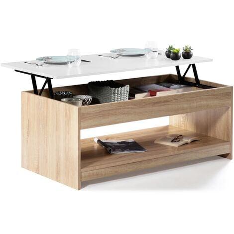 Table basse plateau relevable Soa bois imitation hêtre plateau blanc
