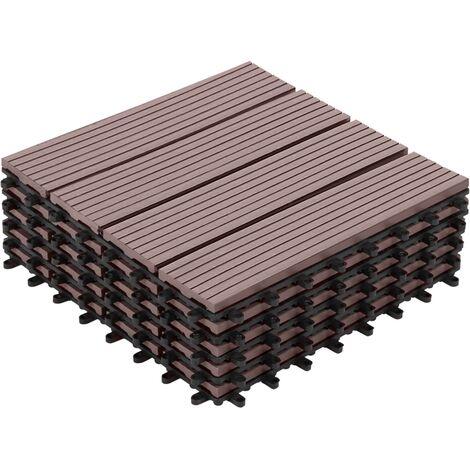 Dalles de terrasse x5 clipsables bois composite taupe