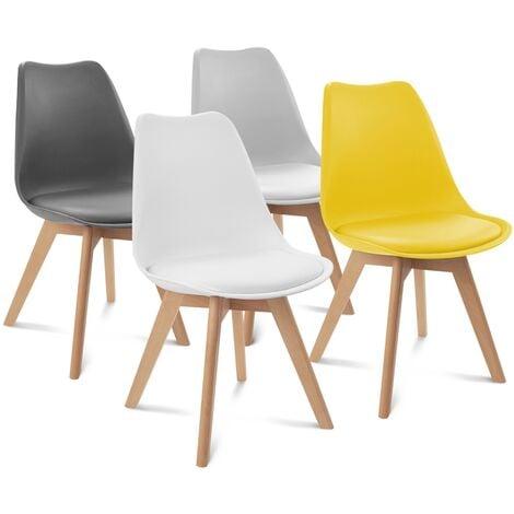 Lot de 4 chaises SARA gris foncé, gris clair, blanc et jaune