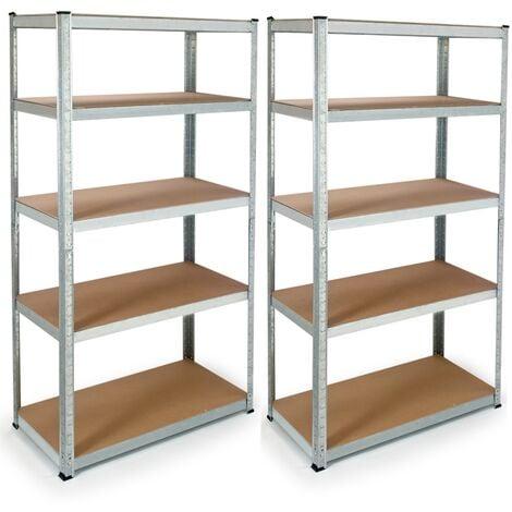 Lot de 2 étagères modulables charges lourdes H. 180 CM 10 plateaux