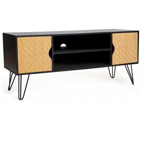 Meuble TV vintage LEONI 2 portes motifs graphiques