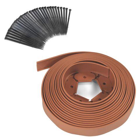 Bordurette de jardin flexible 10 M terracotta hauteur 5 CM + 30 piquets