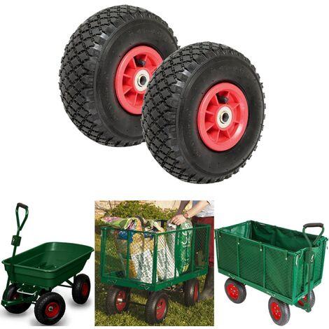 Lot de 2 roues gonflables 260mm pour diable chariot alésage axe 16mm