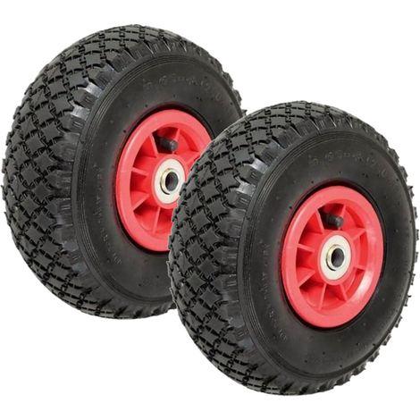 Lot de 2 roues gonflables 260mm pour diable chariot alésage axe 20 mm