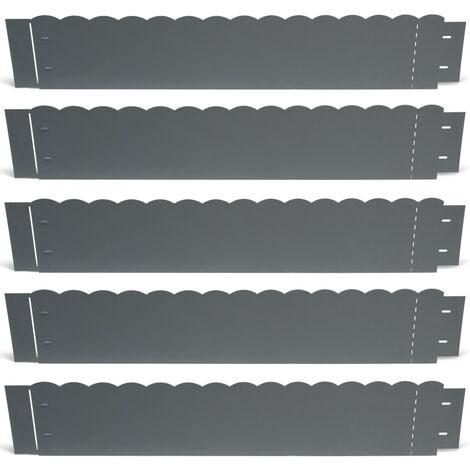 Bordurette de jardin x5 acier gris anthracite vague flexible L. 5 x H. 0.18 M