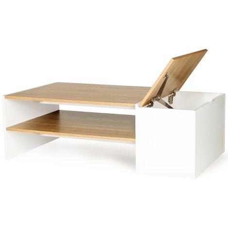 Table basse bar contemporaine IZIA avec coffre bois et blanc