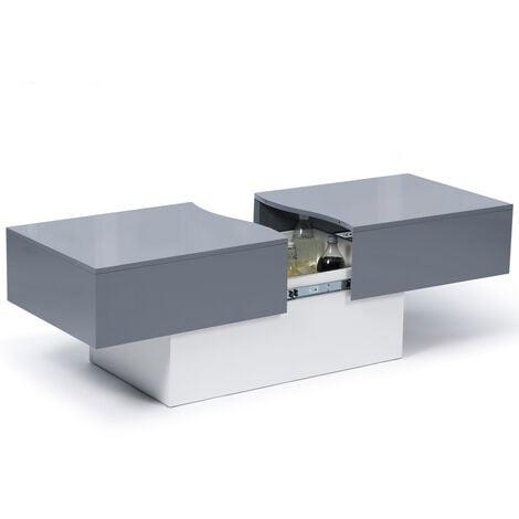 Table basse bar coulissante MARTA bois blanc et gris