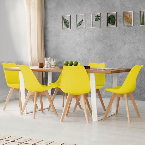 Lot de 6 chaises SARA jaunes pour salle à manger