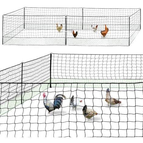 Kit clôture filet à poules 12 M avec porte 6 piquets double pointe