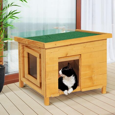 """main image of """"Maison pour chat niche en bois avec porte à lamelles"""""""