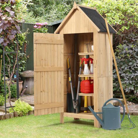 Armoire de jardin abri en bois naturel avec toit bitumé