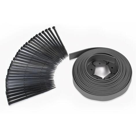 Bordurette de jardin flexible 10 M gris anthracite hauteur 5 CM + 30 piquets