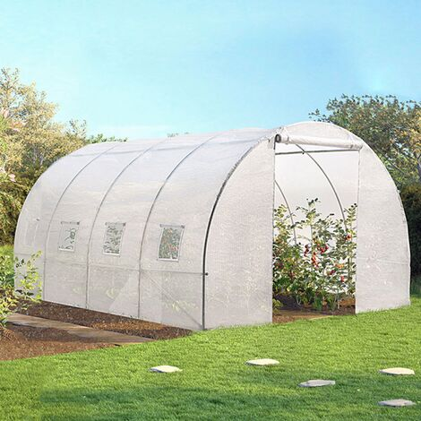 Serre tunnel de jardin 12 m² blanche gamme maraichère ZEBRA 4x3M