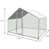 Enclos poulailler 3 M² parc grillagé 2.20 x 1.4M acier galvanisé