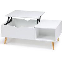 Table basse Effie plateau relevable bois blanc