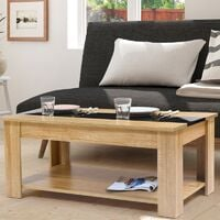 Table basse contemporaine TAO plateau relevable bois noir et imitation hêtre