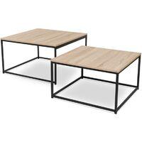Lot de 2 tables basses gigognes DETROIT 60/70 design industriel