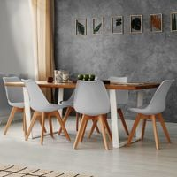 Lot de 4 chaises SARA gris clair pour salle à manger