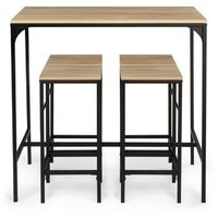Table haute de bar DETROIT et 4 tabourets design industriel