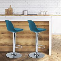 Lot de 2 tabourets de bar KARL design bleu canard