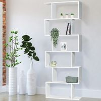 Etagère bibliothèque SOFIA forme S bois blanc 189 cm