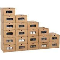 Lot de 20 boites de rangement à chaussures avec tiroir
