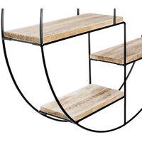 Etagère murale ronde LILY 4 niveaux bois et métal design industriel