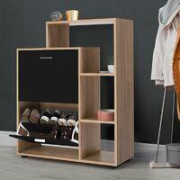 Meuble à chaussures imitation hêtre 2 portes noires avec étagères
