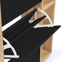 Meuble à chaussures imitation hêtre 3 portes noires avec étagères
